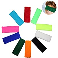 10 Multipack of Headband Sweatbands by Kurtzy - Sports Sweat Bands for Men, Women and Children - Elasticated Headbands for Sport, Cycling, Biking, Gymnastics and Athletics - Bright Colours