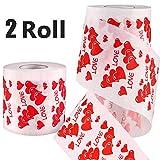 2 Rotoli Amore Cuore Stampato Carta Igienica Regalo Bavaglio, Regalo Bavaglio Divertente per San Valentino o Anniversario Regalo
