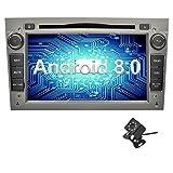 Ohok 7 Pulgadas 2 DIN Autoradio Android 8.0 Oreo Octa Core 4GB Ram 32GB ROM Reproductor DVD GPS Navegador Soporta Bluetooth WiFi AV-IN para Opel Gris con Camara Trasera