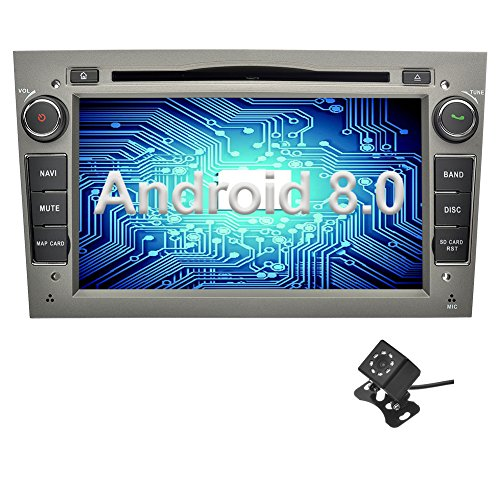 Ohok 7 Inches 2 DIN Car Radio Android 8.0 Oreo Octa Core 4GB Ram 32GB ROM DVD Player GPS Navigator Supports Bluetooth WiFi AV-IN for Opel Gray with Rear Camera