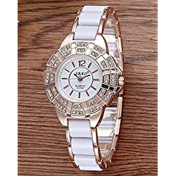 Mode Diamant Damenuhr Quartz watch , white