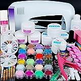 kit de uñas Vovotrade 9W UV Lámpara de secado blanco + 24 colores Kit de herramientas de gel de uñas de acrílico