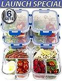 [Lebenslange Deckel 6Pack] Großer Premium 6Sets 3fach Glas Mahlzeit Prep Container 3fach mit Snap Locking Deckel, BPA-frei, Mikrowelle, Backofen, Gefrierschrank, Spülmaschinenfest (1Liter, 36oz)