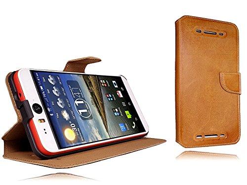 Akira Handmade Original Premium Echtleder Wallet Case für HTC Desire Eye Braun
