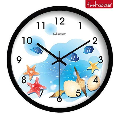 Beloved clock Wanduhr Modern Neu Für Jeden Raum präzise Kreative Cartoon Fisch Uhr Muster Silent Kinderzimmer Clock Wandhalterung, 14 cm, Metal Black Box Erste-klasse-wandhalterung