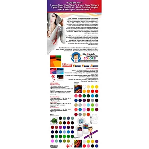 GERCUTTER Store - COMBO No.1: 7 Yards Siser EasyWeed + 1 Yard Siser Glitter + 1 Yard Siser StripFlock (Heat Transfer Vinyl) Mix & Match your favorite colors by Siser - Old Silver Confetti Confetti