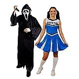 Déguisement pour couple adulte du plus célèbre film d'horreur des années 90 avec la tenue Homme (Large) un masque blanc, une toge noire, un couteau et la tenue Femme (Large) une jupe bleue Cheerleader. Idéal pour les enterrements de vie de garçon et de jeune fille ou les fêtes d'Halloween.