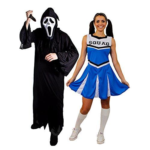 oween Paar=BLAUESCHEERLEADER+SCHREI/SENSENMANN=KOSTÜM VERKLEIDUNGEN=DAS Kleid HAT DIE Aufschrift Squad=Reaper+Maske + Messer= Reaper-XXXLarge+MEDIUM-Cheerleader ()
