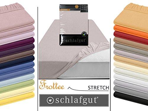 Frottee Stretch Spannbetttuch von schlafgut aus 75% Baumwolle & 25% Polyester - mit Rundumgummi - in 4 Größen & 26 Farben, ca. 140-160 x 200 cm, kiesel