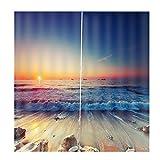 Homyl 2er-Set Vorhang Schal Verdunkelungsvorhang BLICKDICHT für Wohnzimmer Schlafzimmer, Auswahl - Sonnenuntergang am Strand