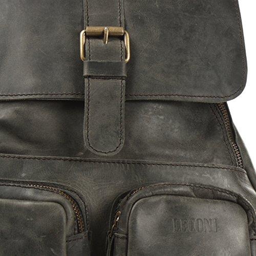 LECONI Rucksack Vintage Lederrucksack Wanderrucksack Freizeitrucksack Natur echtes Rindsleder Stadtrucksack Cityrucksack Damen + Herren 31x40x11cm LE1008 grau – waxy
