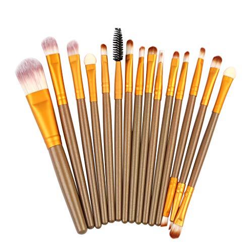 DaySing Brosse Kit De Pinceau Maquillage Professionnel15Pcs Pinceaux De Maquillage Poudre Base Fard à PaupièRes Pinceau CosméTique LèVre Pinceau à LèVre avec Sac Nois