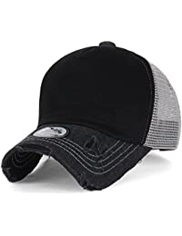 ililily schwarz klassischer Stil abgenutztes Aussehen Netz Snapback blanke Vorderseite Trucker Cap Hut Baseball Cap
