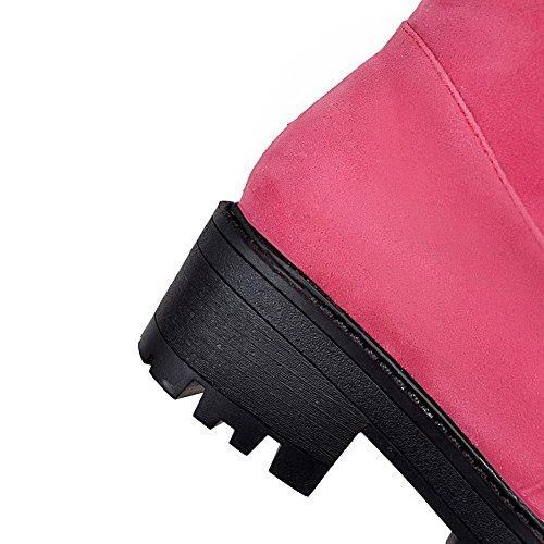 VogueZone009 Damen Rund Zehe Niedriger Absatz Mattglasbirne Hoch-Spitze Rein Stiefel Pink