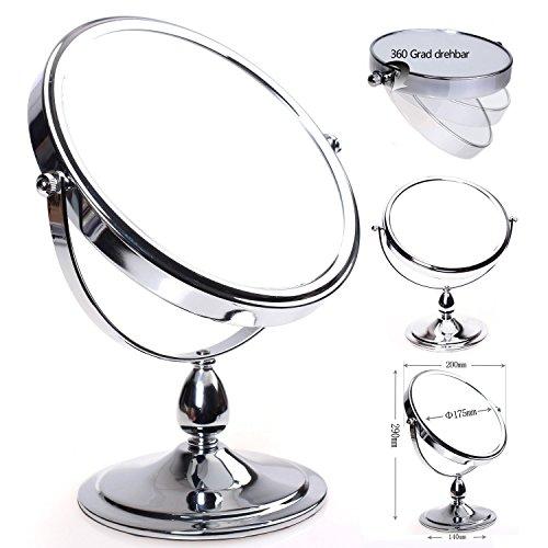 HIMRY-Cosmtica-Espejo-Espejos-para-bao-espejo-de-mesa-8-pulgadas-Espejo-360--de-rotacin-175-cm-Espejos-con-cara-Doble-Estndar-35710-aumentos-Plata-KXD-3116