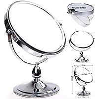 HIMRY® Doppio specchio / cosmetico specchio / trucco / Specchio cosmetico / vanity mirror, 8 pollici, ruotabile di 360 °. 2 facciate: lato normale e lato con ingrandimento 10x , Argento, cromato, KXD3116-10x