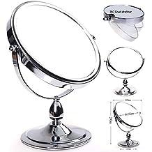 HIMRY® Espejo de Baño 8'' Aumento 10x para Afeitar y Maquillar, espejo de mesa con Doble Cara, Cosmética Espejo, con Doble Cara: 1x y 10x Ampliación, Rotación 360 Grados, 8 pulgadas, 20cm, Plateado, KXD3116-10x