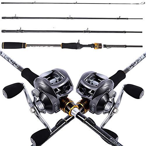 1 Juego de 4 Secciones para Señuelos de Pesca, caña de pescar y carrete lanzamiento de de cebo combinado con caña de de hilar carbono, jeu de ruedas de de pesca Fundición 1,8 m 2,1 m 2,4 m tragbar