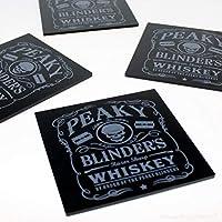 SuperDuperDecor PEAKY BLINDERS WHISKEY COASTERS - Pack of 6 - beer coffee tea drinks table bar mat black grey