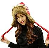 Baymate Frauen Wintermütze Künstlich Fellmütze Fliegermütze Winter Mütze Ohrenschutz Skifahren Hut mit Bommel Rot Kopfumfang (56-60CM)