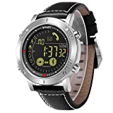JEISO Herren Smartwatch Leder Uhrenarmbänder Kompatibel Mit Android & iOS Telefonen Silber