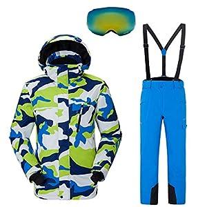 DUBAOBAO Winter warme Skianzug Herrenanzug Winddicht wasserdicht Skianzug Herren Outdoor Skijacke + Hose + Augen