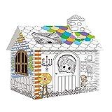 Sportspiele Extra Große Papp- Spleißmontage-Papphaus Graffiti-Zelt Der Kinder DIY Handgemachtes Kreatives Häuschen Gemaltes Hausvillenmodell Geschenk (Color : Weiß, Size : 93.5 * 68 * 100cm)