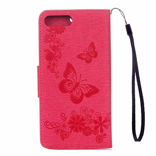 iPhone 8 Plus Custodia, COOSTOREEU Copertura della cassa del basamento del supporto del raccoglitore di cuoio dellunità di elaborazione della farfalle per Apple iPhone 8 Plus,Rosa Rosa rossa