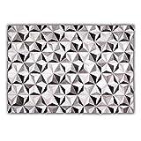 Livorio Designer Patchwork Kuhfell-Teppich - B120 x L180cm - weiß grau schwarz Kaleidoskop genäht