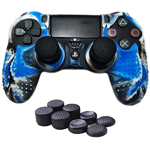 EasyCool Anti-Rutsch-Silikonhülle für PS4 / Slim/Pro Controller (inklusive: Camouflage Controller-Skin, FPS Pro Daumengriffe, Light-Sticker, Touchpad-Aufkleber) Blau blau Camouflage (Ps4-controller-touchpad-aufkleber)