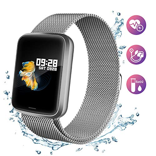 Lintelek NEU Fitness Armband HR Fitness Tracker Pulsuhren Sportuhr Farbbildschirm Blutdruck Vibrationsalarm Smart Watch kompatibel mit iPhone Android Aktivitätstracker für Samsung Gift