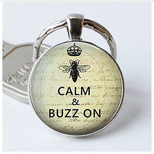 """(Anhänger mit Aufschrift """"Bee Calm & Buzz on"""" (Bleib ruhig und summe weiter), Bienenschmuck-Schlüsselanhänger)"""