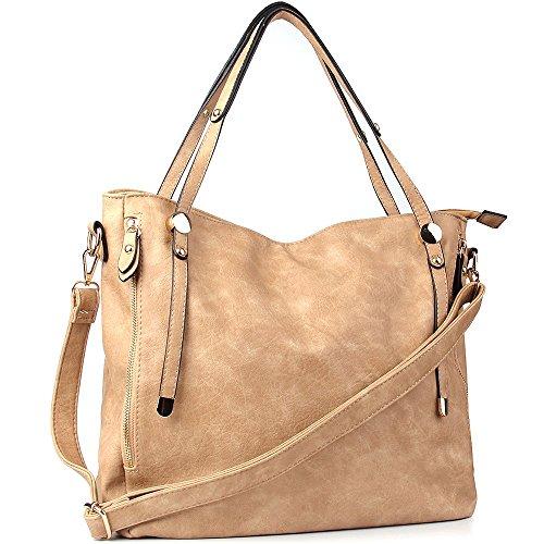 WISHESGEM Schultertaschen Damen Umhängetaschen Handtaschen Tote Damen Henkeltaschen PU-Leder Top-handle Taschen L:36cm * W:17cm * H:33cm Aprikose