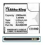 Akku-King Akku ersetzt Wiko Rainbow - Li-Ion 2000mAh - für Barry, Bloom, Cink Five, Darknight, Rainbow, Rainbow Lite, Rainbow Neongelb, Stairway