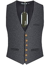 Zicac Gilet veste sans manches slim Carreaux pour Homme
