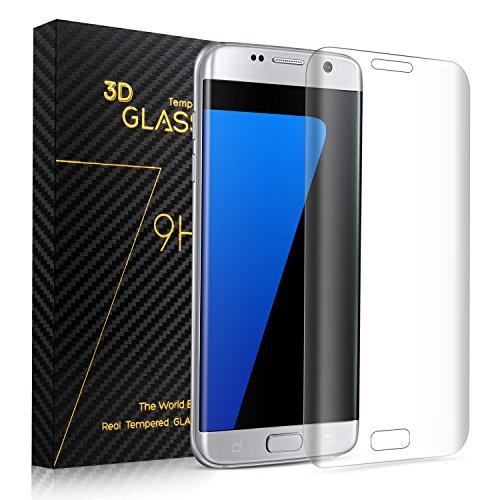 Preisvergleich Produktbild SURWELL Schutzfolie Displayschutzfolie [1-Pack] mit 9H Härtegrad 3D Full Coverage 99% Transparenz Full HD für Samsung Galaxy S7 Edge (Transparent)