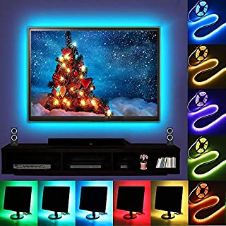 TV Backlight, Auledio Multicolor Waterproof USB RGB LED Strip Lights Kit with Controller and Battery Box for Flat Screen TV LCD, Desktop Monitors - 6.6ft