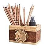 Obling Pot a Crayon en Bois Fabriqué à la Main Artisanat Créatif Porte Stylos pour Bureau Maison (A)