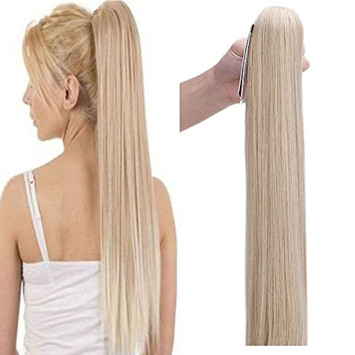 Extension coda capelli lisci 65 cm 150g ponytail extension clip 26 pollici straight hair extension sintetico biondo scuro mix biondo decolorante