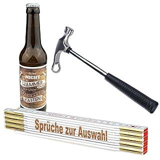3-teiliges Geschenkset/Zollstock mit Spruch-Gravur zum Auswählen/Handwerker-Bier und Flaschenöffner,Hammer'/ Männergeschenk/Handwerker/Vatertag/Geburtstag, Sprüche Zollstock:60 UND FETZIG