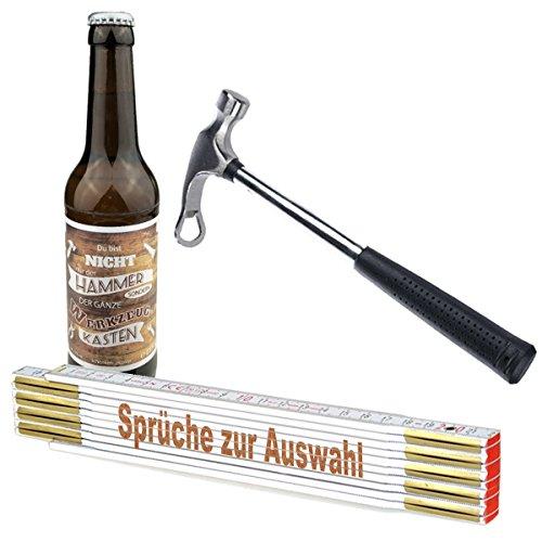 3-teiliges Geschenkset/Zollstock mit Spruch-Gravur zum Auswählen/Handwerker-Bier und Flaschenöffner,Hammer\'/ Männergeschenk/Handwerker/Vatertag/Geburtstag, Sprüche Zollstock:Bester Papa