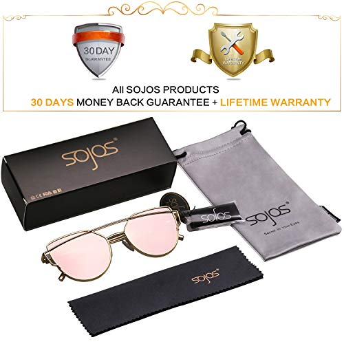 SOJOS Katzenauge Metall Rand Rahmen Damen Frau Mode Sonnenbrille Verspiegelt Linse Women Sunglasses SJ1001 mit Gold Rahmen/Rosa Linse -