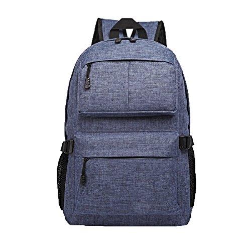Unisex-Funktion Vintage Leinwand Rucksack Reise Schule Schultertasche Rucksack Multicolor,Blue2-M