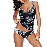 iBaste Tankini Damen Push Up Badeanzug Bikini mit Badehose Swimsuit Bademode große größen Bikini Set-L