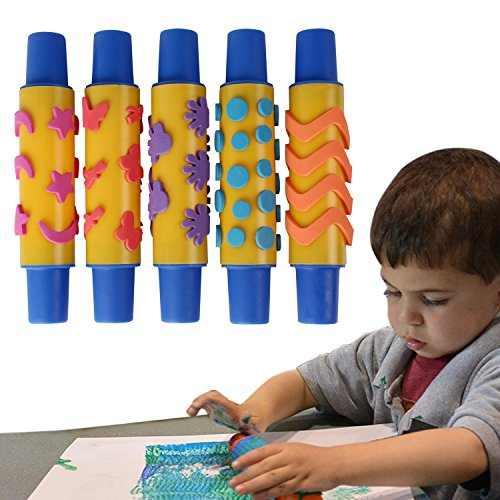 PIGLOO™ Foam Design Paint Roller for Kids Art and Craft (SET OF 5)