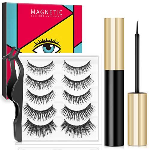 Magnetische Eyeliner und Magnetische Wimpern Set, Wiederverwendbare Künstliche Wimpern 5 Magneten, 3D Falsche Wimpern Natürlich & Wasserdichtem Langlebigem, 5 Paare