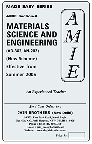 AMIE Materials Science and Engineering AN-302 /AD 302 Section-A Solved Question Paper