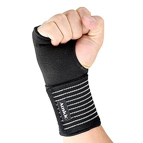 [Handgelenkbandage] Auskio Handgelenk Stützbandage Ideal für Karpaltunnelsyndrom oder Zerrungen des Handgelenks im Alltag, oder eine Schützende Rolle zur Entlastung und Stabilisierung des Handgelenks beim Sport, Verstellbare, Links oder Rechts (Schwarz)