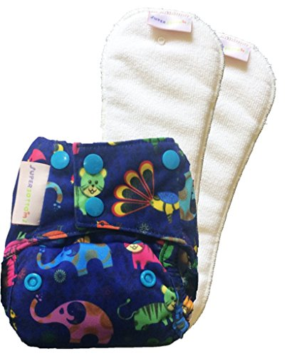 Superbottoms New Born Cloth Diaper with 2 Dry Feel (Stay dry) soakers (inserts) (Purple Love)