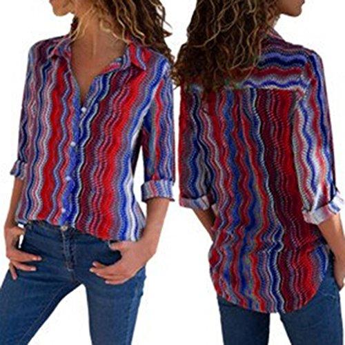 Sannysis Frauen Casual Cuffed Langarm V-Ausschnitt Button up Gestreiftes Shirt Bluse Tops Wellenförmige Gestrige Asymmetrische Hemd Bluse